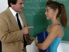 Classroom, Clothed Sex, College, Cute, Desk, From Behind, Gigi Rivera, Ginger, Hardcore, Petite,