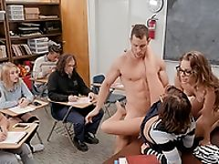 Blowjob, Brunette, Dick, Dirty, Fighting, Glasses, Hardcore, Licking, Long Hair, Missionary,