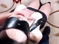 Balls, BDSM, Blindfold, Blowjob, Boots, Corset, Handcuffed, Leather, Master, Ponytail,