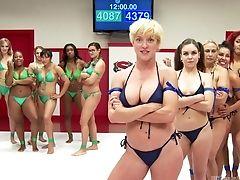 Babe, Bikini, Black, Catfight, Interracial, Lesbian, Moaning, Orgy,