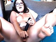 Australian, Brunette, Chubby, Glasses, Masturbation, Model, Natural Tits, Nerd, Sex Toys, Solo,