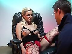 Blonde, Couple, Darina Vanickova, Dick, Drooling, Fishnet, Friend, Natural Tits, Panties, Pornstar,