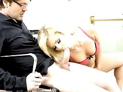 Blonde, Blowjob, Boss, Captive, Cowgirl, Experienced, HD, Office, Riding, Shaved Pussy,