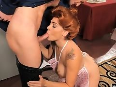 Blowjob, Clothed Sex, Couple, Hardcore, Housewife, Raylene, Redhead, Tattoo, Wife,