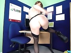 Ass, Beauty, Boobless, HD, Office, Panties, Secretary, Softcore, Solo, Stockings,