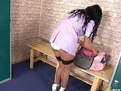 Ass, Babe, Beauty, Boots, Brunette, HD, Juicy, Locker Room, Nurse, Panties,