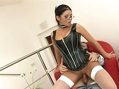 Blowjob, Bold, Brunette, Christina Jolie, Corset, Dick, Fat, Glasses, Handjob, Hardcore,