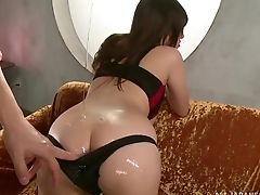 Big Tits, Bra, Brunette, Couple, Dick, Japanese, Long Hair, Natural Tits, Oiled,