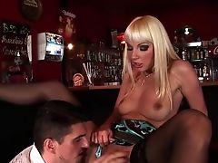 Blonde, Couple, Flexible, Lena Cova, Long Hair, Natural Tits, Nylon, Public, Stockings,
