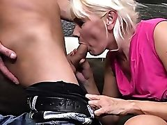 Ass, Blonde, Blowjob, Couch, Creampie, Cumshot, Dick, Doggystyle, Granny, HD,
