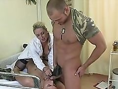 Anal Sex, Army, Bisexual, Blonde, Blowjob, Close Up, Clothed Sex, Condom, Cumshot, Doctor,