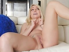 Ass, Blonde, Couch, Cute, Fingering, Jeans, Long Hair, Masturbation, Model, Natural Tits,