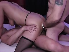 Blowjob, Cum On Tits, Cumshot, Double Anal, Gangbang, German, Hardcore, MILF, Missionary, Natural Tits,