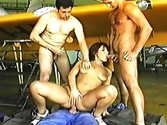 Anal Sex, Brunette, Classic, Double Penetration, Gangbang, Gorgeous, Pretty, Retro, Vintage,
