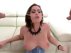 Anal Sex, Big Ass, Brunette, Corset, Couch, Cute, Double Penetration, Group Sex, Hardcore, Mmf,
