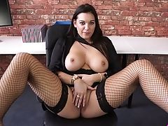Big Natural Tits, Big Tits, Bold, Brunette, Fingering, MILF, Office, Pussy, Softcore, Solo,