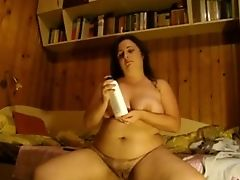 Babe, BBW, Bold, Fat, Jerking, Masturbation, Softcore, Solo, Vegetables, Webcam,
